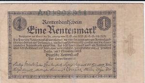 1 RENTENMARK FINE BANKNOTE FROM GERMANY 1923 PICK-161  RARE