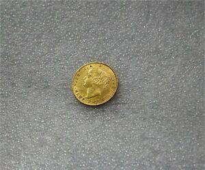 1865 Newfoundland Victoria Gold $2 Dollars Coin Die Break Luster  AU