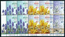 ISRAEL 2019 AUTUMN FLOWERS SET OF TAB BLOCKS MNH