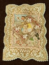 1910 Valentine's Day Card Vtg Delicate Paper Lace Forget Me Not Layers Accordian