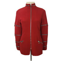 NWT CACHE Size Medium Red 'dre' Full Zip Zipper Jacket Military Moto $260