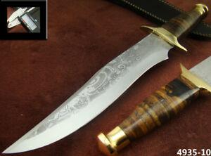 CUSTOM HANDMADE BEAUTIFUL KNIFE ACID ETCH DESIGN BLADE HUNTING KNIFE (4935-10