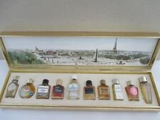 Vintage LES MEILLEURS PARFUMS DE PARIS Set of Mini Perfume Bottles Paris Scene