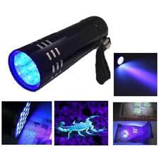 UV Ultra Violet 9 LED 395nm Flashlight Mini Blacklight Torch Scorpion Detector