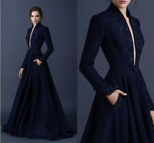 Navy Blue Long Sleeve Evening Dresses Deep Formal Paolo Sebastian Prom Dresses