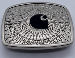 NEW CARHARTT Logo Branded Silver & Black Enamel Starburst Belt Buckle Western