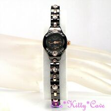 OMAX Gunmetal Brown Rose Gold Steel SEIKO Movt Watch W Swarovski Crystals Je0100