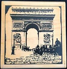Rare Wood Mounted Rubber Stamp Arc De Triomphe