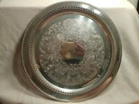 VTG William A Rogers silver plated Decorative Round serving tray Platter 15""