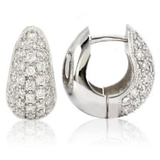 14k White Gold Diamond Huggies, 1.00tdw (NEW hoop earrings, 14.8mm x 15mm) 4453