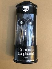 LUGG DIAMANTE BLACK EARPHONES / HEADPHONES FOR MOST PHONES 3.5MM BRANDNEW