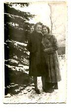 Girl Friends Outside-Winter Snow-Long Fur Coat-RPPC-Vintage Real Photo Postcard