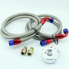 AN-10 Stainless Steel Braided Oil Fuel Line + Oil Cooler Filter Sandwich Adapter