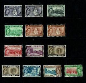 Montserrat: 1953, Queen Elizabeth definitive, short set + reprints, MLH.