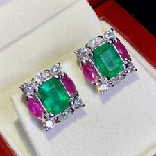 WOW! 6.85TCW Emerald Diamond 18K solid white gold earrings Natural Zambian Ruby