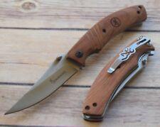 Couteau Browning Bird & Trout Manche Bois Lame Acier Inox BR0158