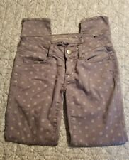 AMERICAN EAGLE WOMENS JEGGINGS SIZE 00 PURPLE POLKA DOT JEANS SKINNY ANKLE ZIP