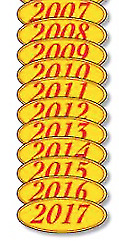 Car Dealer Windshield Oval Model Year Stickers, 4 Digit Red/Yellow