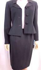 Women's KASPER for ASL 2-Piece Black Business Suit Blazer Skirt Petite 4 Lined