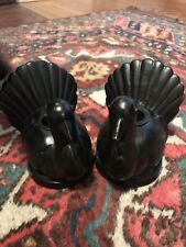 Set of 2 Pottery Barn Coated Brass Turkey Taper Candle Holders