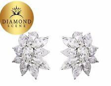 DIAMOND CLUSTER EARRING 14 MARQUISE 6 PEAR SHAPE CLUSTER HUGGIE DIAMOND EARRING