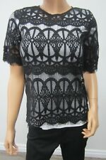 *NWT* $78.00 BCBGeneration SUPER CUTE SEXY Black Lace Short Sleeve Top / Size XS