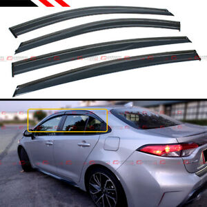 FOR 2020+ TOYOTA COROLLA 4DR SEDAN JDM SMOKED CLIP-ON WINDOW VISOR W/ BLACK TRIM