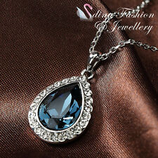 18K White Gold Plated Made With Swarovski Crystal Water Droop Sapphire Necklace