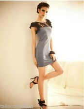 Black Sheer Lace Neckline Clubbing Party Evening Mini Grey Bodycon Dress 30115