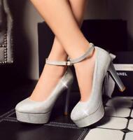 Women Bling Bling Sequins Ankle Strap Platform High Heel Pumps Wedding Shoes New