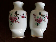"PAIR OF MINIATURE CHINESE VASES PINK BLOSSOM & BIRD 4"" TALL **GC**"