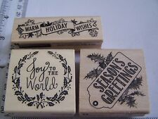 WM RUBBER STAMPS CHRISTMAS WINTER WARM WISHES JOY TO WORLD SEASON'S GREETINGS