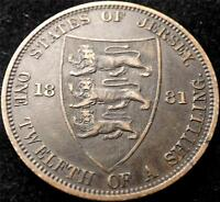 1881 QUEEN VICTORIA STATES OF JERSEY 1/12th OF A SHILLING COIN COLLECTABLE DATE
