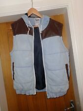 Size L --55 Soul Denim & Faux Leather Hoodie Gilet / Padded Waist coat