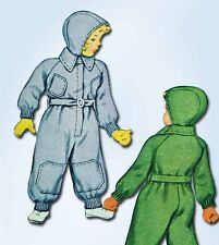 1940s Vintage McCall Sewing Pattern 5831 Uncut Toddler Snow Suit & Cap Size 2