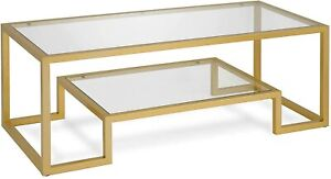 Gold Mid Century Modern Rectangle Coffee Table - Geometric-Inspired Glass Accent