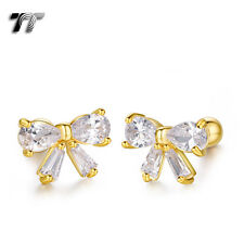 TT Gold Surgical Steel Clear CZ Bow Cartilage Tragus Earrings (TR35J) NEW