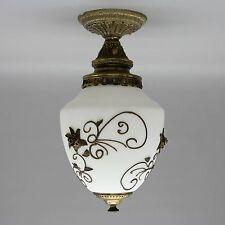 "Vtg 15"" Ceiling Brass Light Lamp Fixture Frosted Glass Globe Hollywood Regency"