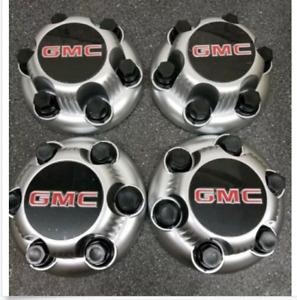"""4PCS MATTE SILVER GMC Sierra Yukon Savana 6 Lugs 1500 Center Caps 16"""" 17"""" Wheels"""