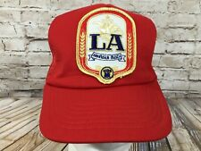 Vintage LA BEER Snapback Patch Trucker Hat Cap Adult OSFA Made in USA Red