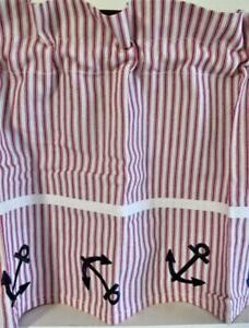 Nautical Valance SHIPS AHOY 53 inch x 13 inch Red Stripes w Navy Anchors Boating