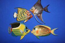 (4) Colorful Coral Reef Aquarium Wall Decor Realistic 3-D Polyresin Fish Bundle