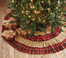 "Whitton Ruffled Christmas Tree Skirt 48"" D Natural Burlap / Red - Green Plaid"