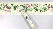 York Wallpaper Border Vine Blossom Flower Pale Green Pink Textured Bird Floral