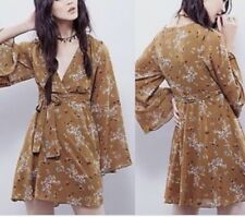 Free People Lilou Floral Bell Sleeve Dress, XS