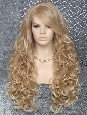 Human Hair Blend Wig Heat OK Curly Long Blonde mix Bangs Layered 27-613 NWT WBBT