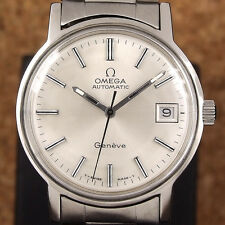 Authentic Omega Geneve Date Silver Dial Stainless Steel Automatic Mens Watch