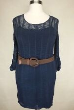 63bea327e5b MAURICES WOMEN S NAVY BLUE LONG SLEEVE BELTED LINED SWEATER DRESS PLUS Sz  ...