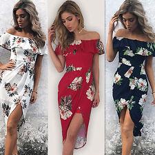 Femmes Boho Floral plage soirée Cocktail robe longue Maxi robe bain de soleil