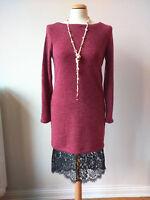 Kleid Hugo Boss S 36-38 rot mit Spitze Wollkleid